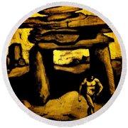 Ancient Grunge Round Beach Towel by John Malone