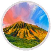 Ancient Hawaii Lava Flow Round Beach Towel