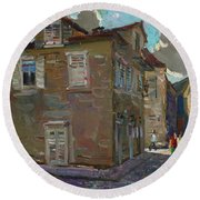 Ancient House In Perast Round Beach Towel