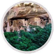 Ancient Houses Round Beach Towel