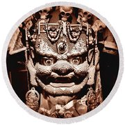 Ancient Mask Round Beach Towel