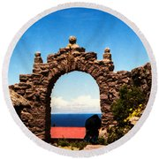 Ancient Portal Round Beach Towel