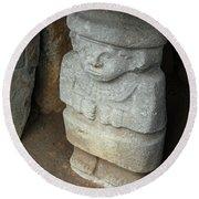 Ancient Pre-columbian Statue Round Beach Towel