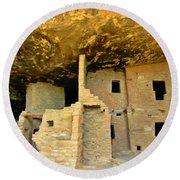 Ancient Pueblo Dwelling Ruins Round Beach Towel