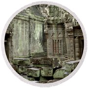 Ancient Ruins Cambodia Round Beach Towel