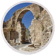 Ancient Side Entrance Gate Round Beach Towel