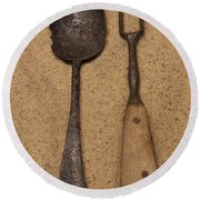 Ancient Spoon And Fork  Round Beach Towel