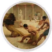Ancient Sport Round Beach Towel