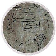 Ancient Wall Art Round Beach Towel