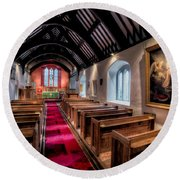 Ancient Welsh Church Round Beach Towel by Adrian Evans