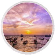 And Every Sunset Will Bring You That Much Nearer... Round Beach Towel