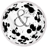 And Sign Splashes Sphere  Round Beach Towel