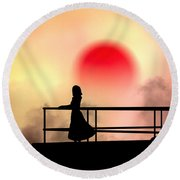 And The Sun Also Rises Round Beach Towel