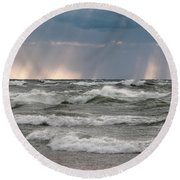 And There Was Light Round Beach Towel