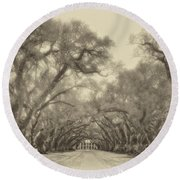 And Time Stood Still Sepia Round Beach Towel