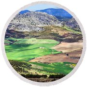 Andalucia Landscape In Spain Round Beach Towel