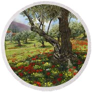 Andalucian Olive Grove Round Beach Towel