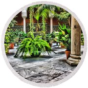 Andalusian Courtyard In Sevilla Spain Round Beach Towel