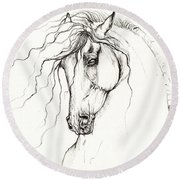 Andalusian Horse Drawing 04 11 2013 Round Beach Towel