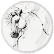Andalusian Horse Drawing 1 Round Beach Towel