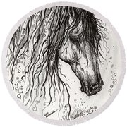 Andalusian Horse Drawing 2 Round Beach Towel