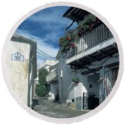 Andalusian White Village Round Beach Towel