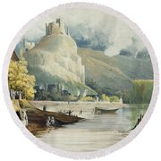Andely, From Views On The Seine Round Beach Towel
