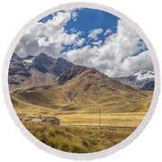 Andes Mountains - Peru Round Beach Towel