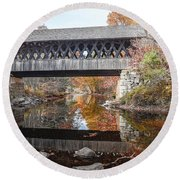 Andover Covered Bridge Round Beach Towel