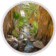 Andreas Creek In Andreas Canyon In Indian Canyons-ca Round Beach Towel