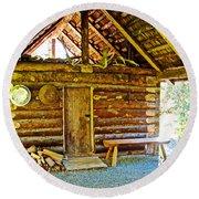 Andrew Berg's Homestead Cabin At Kenai National Wildlife Refuge In Soldotna-alaska Round Beach Towel