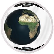 Android Hands Keep Earth Globe Safe On White Background Round Beach Towel
