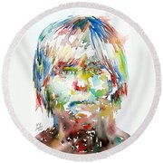 Andy Warhol Watercolor Portrait Round Beach Towel