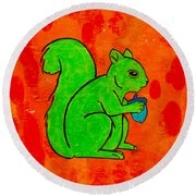 Andy's Squirrel Green Round Beach Towel