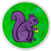 Andy's Squirrel Purple Round Beach Towel