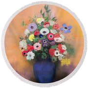 Anemones And Lilac In A Blue Vase Round Beach Towel