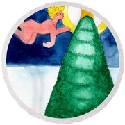 Angel And Christmas Tree Round Beach Towel