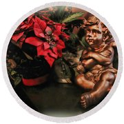 Angel And Poinsettia Round Beach Towel