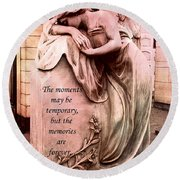 Angel Art - Memorial Angel Weeping Sorrow At Grave With Inspirational Message - Memories Are Forever Round Beach Towel