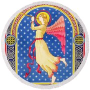 Angel Blowing Trumper Round Beach Towel