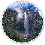 Angel Falls In Canaima National Park Venezuela Round Beach Towel