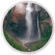 Angel Falls In Venezuela Round Beach Towel