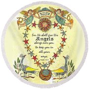 Angel Fraktur Painting Round Beach Towel