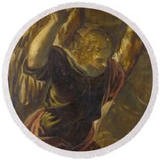Angel From The Annunciation To The Virgin Round Beach Towel