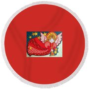 Angel In Red Round Beach Towel
