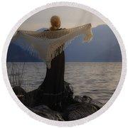 Angel In Sunset Round Beach Towel