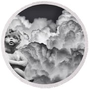 Angel In The Clouds Round Beach Towel