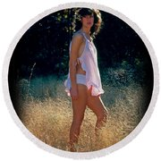 Angel In The Grasses 3 Round Beach Towel
