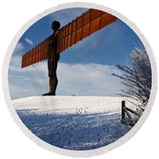 Angel In The Snow Iv Round Beach Towel