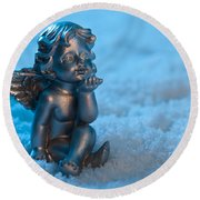 Angel In The Snow Round Beach Towel